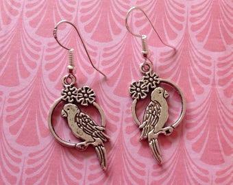 Bird Earrings Bird Jewellery Parakeet Earrings Bird And Flowers Perching Bird Tropical Earrings Bird Charm Retro Bird