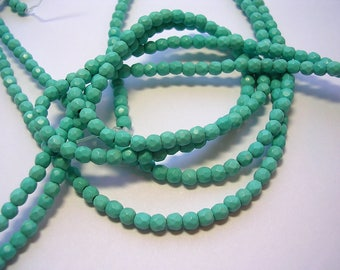 4mm synthetic turquoise faceted rounds Howlite 90 beads 1mm hole 4mm blue beads