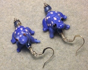 Blue and white spotted lampwork frog bead earrings adorned with blue Czech glass beads.