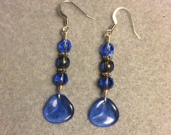 Translucent dark blue Czech glass rose petal dangle earrings adorned with dark blue Czech glass beads