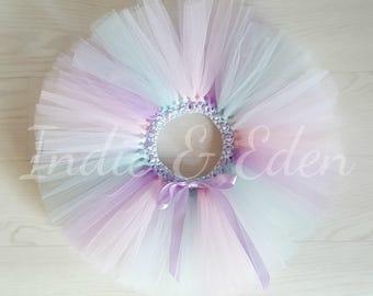 Baby Tutu Lilac pink blue white Tutu Pastel colours for girls birthday photo prop cake smash baby toddler skirt