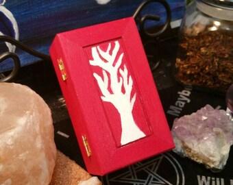 Rune Box, Hand Painted Wooden Rune Box, Jewelry Box, Dark Pink and White Tree Rune Box, Crystal Keepsake, Witch Box, Tree of Life Box