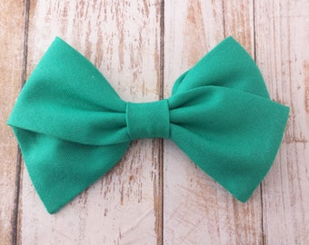 Seagreen Hand Tied Fabric Bow Clip or Nylon Headband / Seagreen Hand Tied Bow / Sailor Bow Headband / Emerald Green Fabric Sailor Bow Clip /