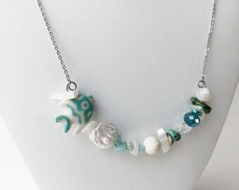 Fish Necklace - Beach Necklace - Turquoise Necklace - Metaphysical Necklace - Blue Necklace - Shell Necklace