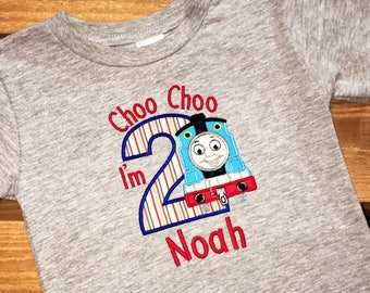 Boy's 2nd Birthday Train Applique T-Shirt, that can be personalized. Can also make one for the whole family or birthday party guests.