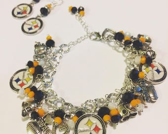 SALE Pittsburgh Steelers Chunky Charm Bracelet and Earrings