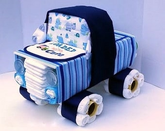 Truck Diaper Cake - Diaper Cake Boy - Unique Diaper Cake - Baby Shower Gift - Boy Baby Shower Centerpiece - OOAK Gift Ideas