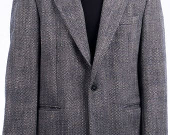 Vintage jacket made in Italy-vintage men's jacket-jacket size L-jacket made of wool-label Igi & Igi-jacket with falling lapel-grey