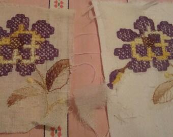 Flower purple vintage instant on fabric transfer