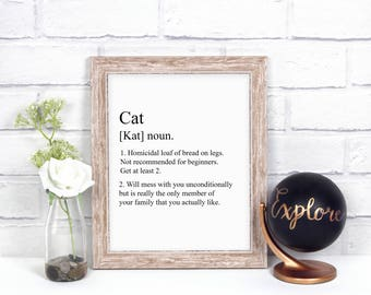Funny Cat Definition Digital Print, Typography Print, Funny Wall Art, Funny Cat Lover Home Decor, Printable Art, Instant Download, Art Print
