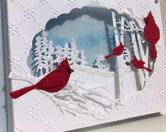 3D Cardinal Winter Scene Christmas Card, Christmas Diorama Card,Glittered Cardinal Card,Unique Handmade Christmas Card,Deluxe Christmas Card