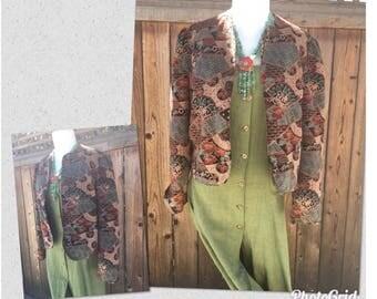 Vintage Cropped Velvet Jacket Abstract Velvet Jacket Size M Puff Shoulders