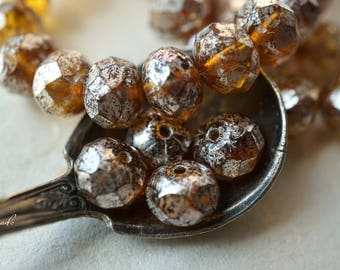 Amber Mercury, Rondelle Beads, Czech Beads, Beads, N2389