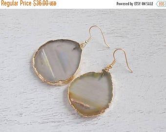 SUMMER SALE Statement Earrings, Natural Geode Earrings, Slice Agate Earrings, Large Gemstone Earrings, Agate Earrings, Clip-on Earrings, Gif