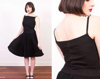 Vintage 1960s LANZ Original Dress / 1961 / Little Black Dress / Pleated Skirt / Button Back / XS