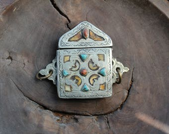 Berber tribe prayer box with bone and stone inlay.  Moroccan north African.