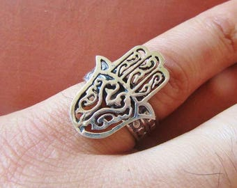 Antique Egyptian Sterling Silver Ring Band Hamsa Hand Ring, Protection, Good Luck...Adjustable...STAMPED