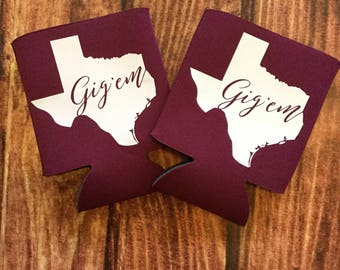 FREE SHIPPING!!! Texas A&M Gig 'Em Aggie Maroon Can Coolers  Pre-Season Sale