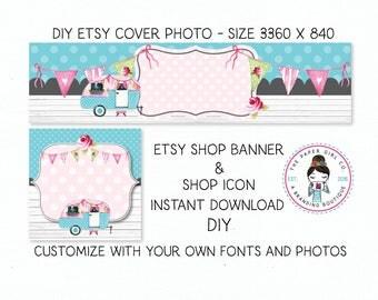 DIY etsy cover set etsy shop set premade DIY etsy set DIY etsy branding set caravan shop set vintage camper shop set Instant Download