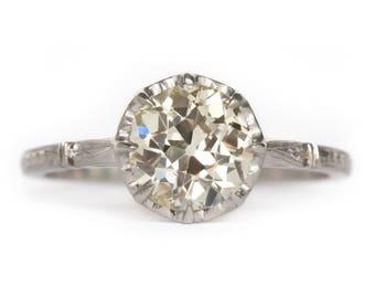 Circa 1910 Edwardian Platinum 1.52ct Old European Cut Diamond Engagement Ring - VEG#950