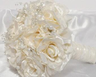 Cream Rose Silk Bridal Bouquet