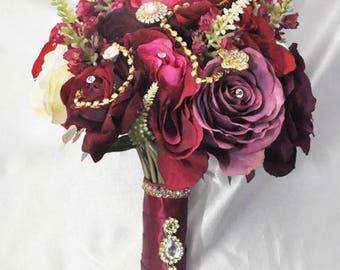 Pink & Plum Silk Bridal Bouquet