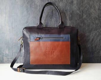 "Leather messenger bag, dark blue bag, weekend bag, large size bag for women 17.7 x 15.7""  - Ready to ship"