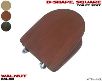 wooden square toilet seat. Square wooden toilet seat  3 colors to choose D shape wood Wooden Etsy