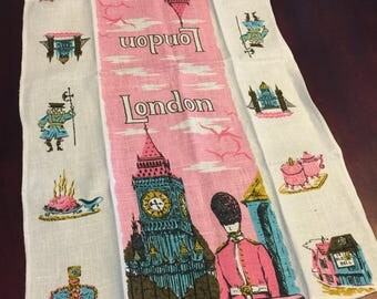 Vintage London linen tea towel - Pink and blue London tea towel - Big Ben tea towel - vintage travel souvenir - mid century London tea towel