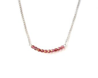 Necklace in 925 Silver with pink faceted beads