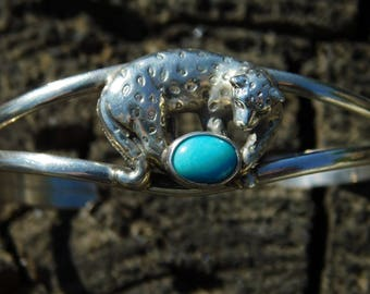 Carol Felley cheetah leopard cuff bracelet.  Sterling silver, turquoise rare and sold out.