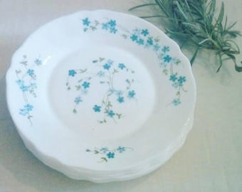 Set of 4 dessert plates ARCOPAL Véronica, retro 70's plates, white plates small blue flowers in opaline, French Vintage, french dishes