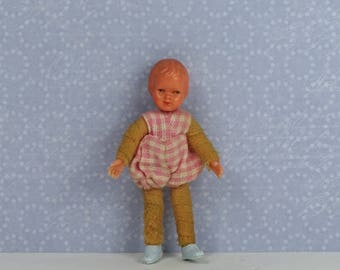 Doll house vintage doll baby 1940s pink plastic