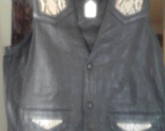 Python Leather Vest with python inlays