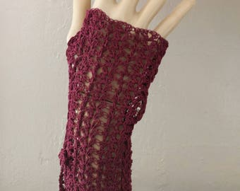 Burgandy fingerless crochet gloves,formal gloves,graduation gift ,summer gloves,cotton gloves,ladies gloves,driving gloves,teenagers gloves