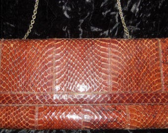 Vintage mid century Snakeskin Clutch Handbag Brown Purse