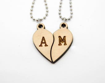 Wooden necklaces couple BROKEN HEART with initials Valentine's day boyfriends friendship love