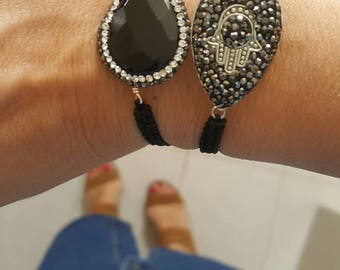 black onyx macrame bracelet, with black and silver rhinestones, on black cord