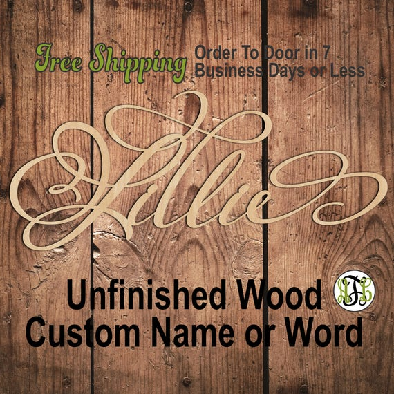 "1/2"" Thick BBP Unfinished Wood Custom Name in PmBSA Font, Script, Cursive, wooden name sign, laser cut wood out, Personalized, DIY"