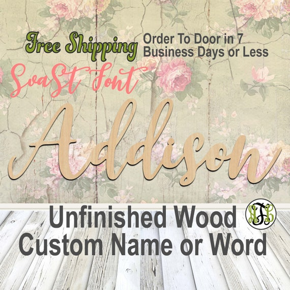 Unfinished Wood Custom Name or Word SvaSt Font, wood cut out, Script, Connected, wood cutout, wooden sign, Nursery, Wedding, Birthday