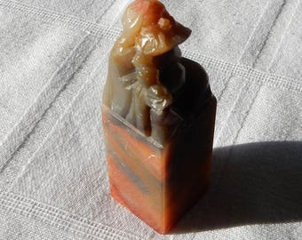 Chinese Soapstone Seal - Carved Immortal Seal - Carved Soapstone Stamp - Chinese Taoist Immortal Carved Stamp- Chinese Soapstone Carved Chop