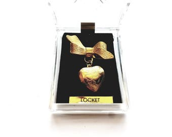 Vintage Gold Bow with Dangle Heart Locket Pin Brooch in Original Box