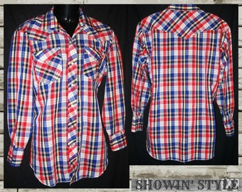 CLEARANCE!!  H Bar C Long Tail Vintage Western Men's Plaid Cowboy Shirt,, Red, White, Blue Plaid, 16.5 / 33, Approx. Large (see meas.)