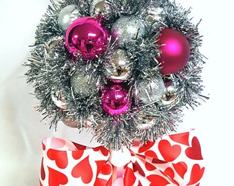 Follow your heart arrangment, Valentine Topiary, Coffee Mug Decor, Pink Red Fuschia arrangement