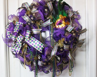 Mardi Gras Wreath, Fat Tuesday Wreath, Mardi Gras Decor, New Orleans Wreath, Fleur De Lis Wreath, Purple Green Gold Wreath
