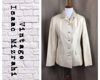 Isaac Mizrahi  Vintage Ivory Shimmer single breasted blazer
