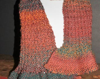 Women's Wool Blend Multi-colored Gold/Teal/Brown/Purple Knit Ruffled Scarf