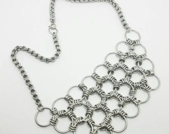 Japanese Lace Chainmaille Bib Statement Necklace Choker