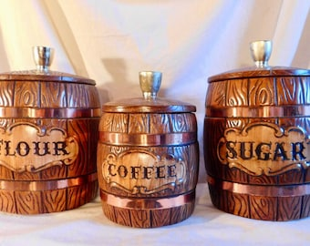 Treasure Craft Barrel Canister Set Flour Sugar And Coffee Canisters wood Grain Barrel Style Canisters