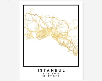 Istanbul Map Coordinates Print - Turkey City Street Map Art Poster, Gold Istanbul Map Print, Istanbul Turkey Coordinates Turkish Poster Map
